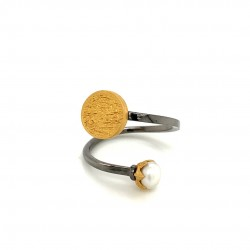 Silver ring with two platings, pearl and motif Festos Disk