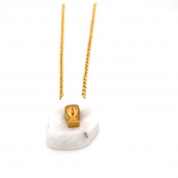 Chain necklace with greek marble and a goldplated element Eidolio