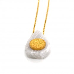 Chain necklace with greek marble and a goldplated element Festos Disk