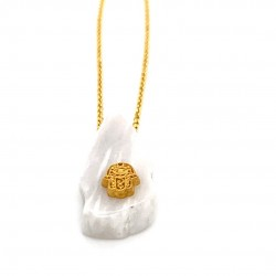 Chain necklace with greek marble and a goldplated element Hamsa
