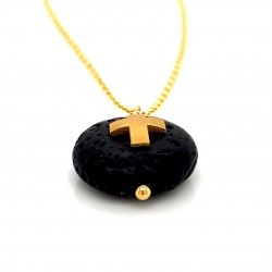 Lava chain necklace with Cross