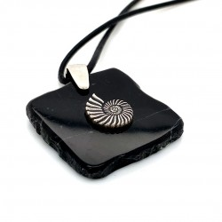 Marble pendant for men with silver motif Naytilos