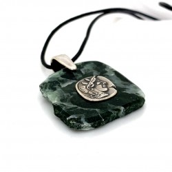 Marble pendant for men with silver motif Alexander the Great