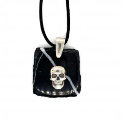 Marble pendant for men with silver motif Skull