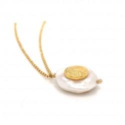 Chain necklace with a mother of pearl and silver motif Alexander the Great