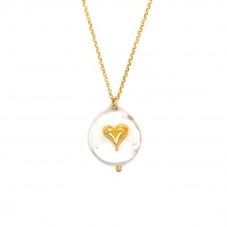 Chain necklace with a mother of pearl and silver motif Heart