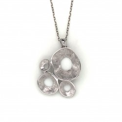 Necklace pendant with organic shell shape, made from 925 sterling silver rhodium plated