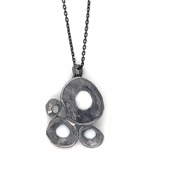 Necklace pendant with organic shell shape, made from 925 sterling silver black rhodium plated