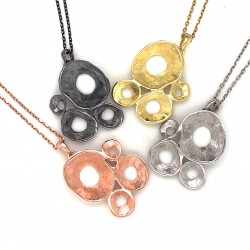 Necklace pendant with organic shell shape, made from 925 sterling gold plated