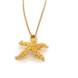 Coral inspired necklace, starfish motif from sterling silver gold plated