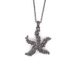 Coral inspired necklace, starfish motif from sterling silver black rhodium plated