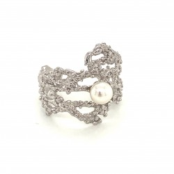 Coral inspired ring, open band adorned with a freshwater pearl, rhodium plated