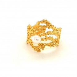 Coral inspired ring, open band adorned with a freshwater pearl, gold plated