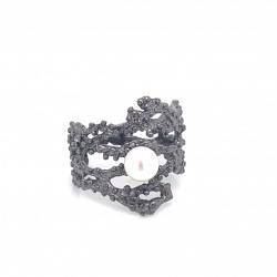 Coral inspired ring, open band adorned with a freshwater pearl, Black Rhodium plated