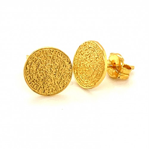 Earrings Phaistos disc, small and discreet from st...