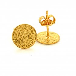 Earrings Phaistos disc, small and discreet from gold plated silver 925, mini
