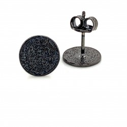 Earrings Phaistos disc, small and discreet from black rhodium plated silver 925, mini