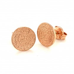 Earrings Phaistos disc, small and discreet from rose gold plated silver 925, mini