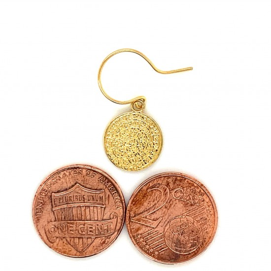 Earrings Phaistos disc with hook small and discreet from gold plated silver 925, no1