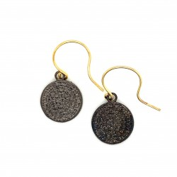 Earrings Phaistos disc with hook small and discreet from black rhodium plated silver 925, no1