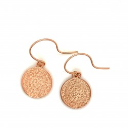 Earrings Phaistos disc with hook small and discreet from rose gold plated silver 925, no1
