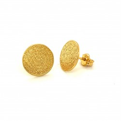 Earrings Phaistos disc, small and discreet, gold plated silver 925, no1