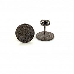 Earrings Phaistos disc, small and discreet, black rhodium plated silver 925, no1