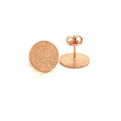 Earrings Phaistos disc, small and discreet from rose gold plated silver 925, no1