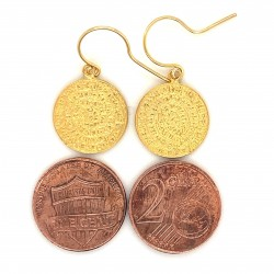 Earrings Phaistos disc with hook small from gold plated silver 925, no2