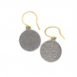 Earrings Phaistos disc with hook small from black rhodium plated silver 925, no2