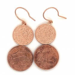 Earrings Phaistos disc with hook small from rose gold plated silver 925, no2