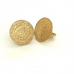 Earrings Phaistos disc, small and discreet from gold plated silver 925, no2