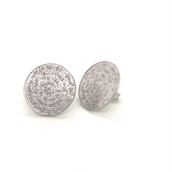 Earrings Phaistos disc from sterling silver 925, no3