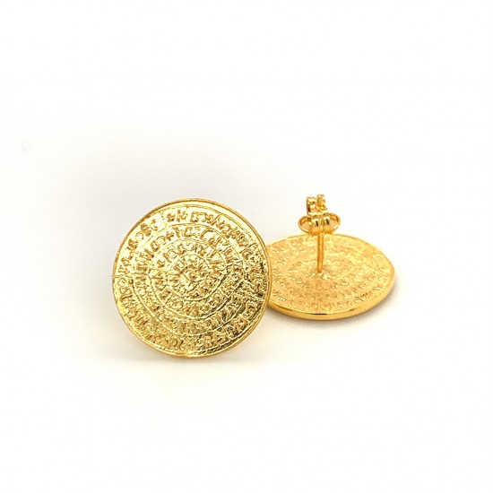 Earrings Phaistos disc from gold plated silver 925, no3