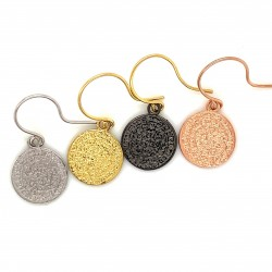 Earrings Phaistos disc with hook small and discreet from sterling silver 925, no1