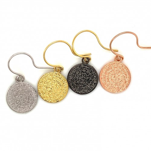 Earrings Phaistos disc with hook small and discree...