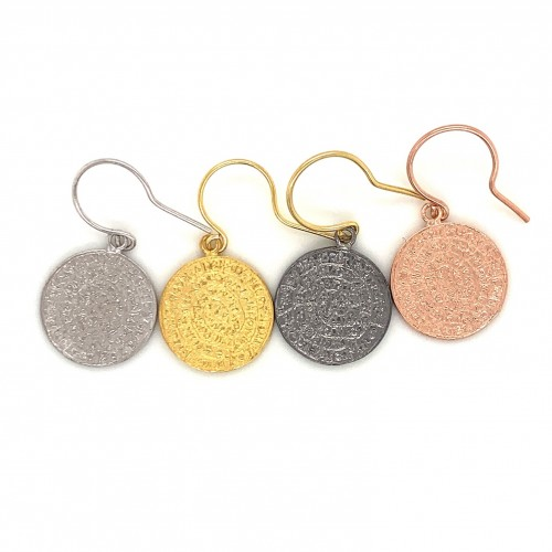 Earrings Phaistos disc with hook small from sterli...