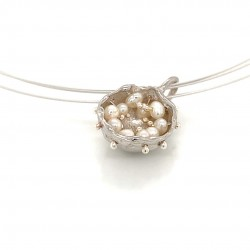 Mobile silver pendant hollow bezel with fresh water pearls