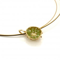 Mobile goldplated pendant hollow bezel with peridot