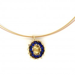 Mobile goldplated pendant hollow bezel with lapis lazuli