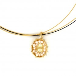 Mobile goldplated pendant hollow bezel with fresh water pearls