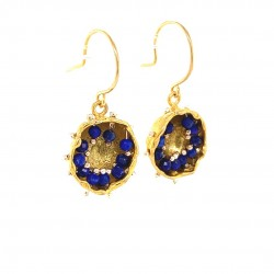 Goldplated earrings of a hollow bezel with mobile semiprecious stones lapis lazouli