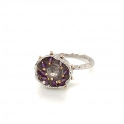 Mobile silver ring hollow bezel with amethyst