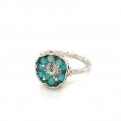 Mobile silver ring hollow bezel with amazonite