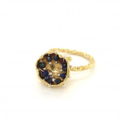 Mobile goldplated ring hollow bezel with lapis lazuli
