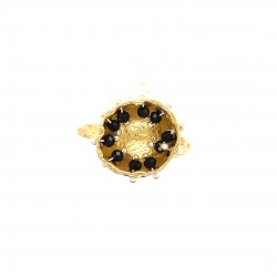 Mobile goldplated ring hollow bezel with black spinel