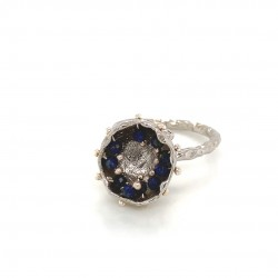 Mobile silver ring hollow bezel with lapis lazuli