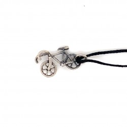 Ride bike pendant from oxidized sterling silver, unisex, hobby collection