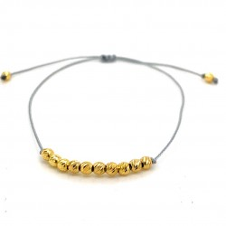 Simple boho gold plated beads bracelet in makrame cord