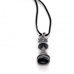 Chess pendant from oxidized sterling silver, unisex, hobby collection